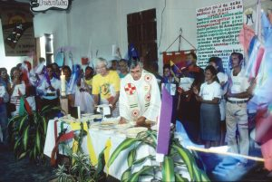 Bishop George Marskell with participants at the Assembly of the People of God, held every two years in the Prelacy of Itacoatiara, Brazil. Each of the almost 300 base Christian communities sent one representative to voice concerns, celebrate victories, and debate and decide upon pastoral priorities. The last People's Assembly was held in 1998, a month before Bishop Marskell's death.