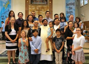 Fr. Luis's mother, Maria Lopez (above centre), led a large family delegation (mainly from the Ottawa area) to attend this happy occasion. The Scarboro Missions chapel and reception were overflowing with friends and relatives. He celebrated his first Mass in the chapel the following morning.