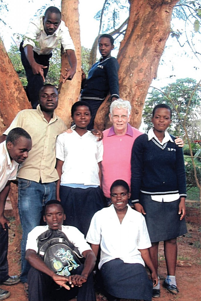 Sr. Ann MacDonald at her home with after school students from St. Peter's Secondary School. Mzuzu, Malawi.