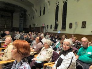 Partial view of attendees in the SFM Chapel
