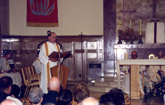 (CREDIT: Fr. Gerald Curry, S.F.M.) Fr. Walsh giving the homily at Bishop Marskell's Memorial Mass, held at Scarboro Missions on July 4.