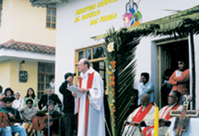 Scarboro missionary Fr. Frank Hegel, director of Christ the Good Shepherd Seminary, at the offical blessing of the seminary, April 1999, once the new wing was completed in the Town of chambo, in the Diocese of Riobamba, Ecuador