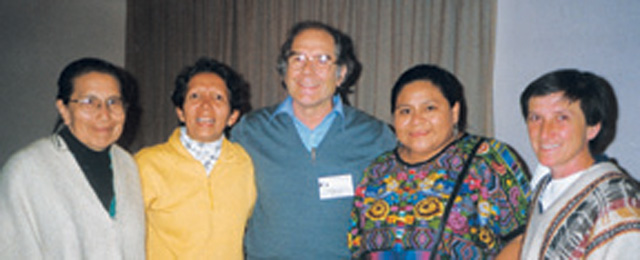 "The ""two Julias"" mentioned in this article are Scarboro lay missioner Julia Duarte (second from left) and Julia Serrano (far right). The others are Stella Gutierrez, a Colombian theologian, Perez Esquivel and Rigoberta Menchu, both Nobel Prize recipients. Taken at the gathering of bishops, pastoral agents and friends of Bishop Leonidas Proano at the tenth anniversary of his death, Riobamba, Ecuador, 1998."