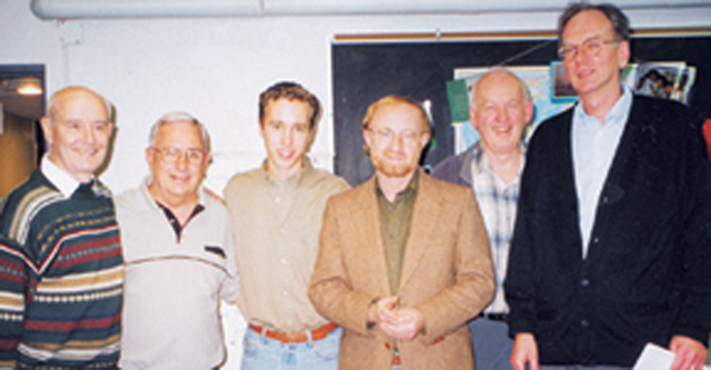(L-R) Finton Kilbride, Fr. Jack Lynch (Superior General of Scarboro Missions), Craig and his father Fred, Fr. Gerald Curry (Editor of Scarboro Missions magazine) and John Gaither.