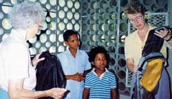 Sr. Anne Nolan (L) and Sr. Lenore Gibb with young people of Consuelo, Dominican Republic. 1992. The Grey Sisters of the Immaculate Conception began working in the Dominican Republic in 1951.