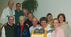 L-R: Fr. Frank Hegel and lay candidate Mike Westwell (standing); Denis Dancause (front left), a course presenter for the lay program; lay missioners Louise Malnachuk and John and Jean MacInnis, coordinators of the Lay Mission Office; Fr. Mike Traher, and candidates Sr. Sylvia, Anne Harty, Gwen Westwell and Miriam Wheeler.