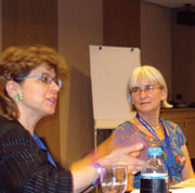 Above left, Suzannah Heschel, daughter of Abraham Heschel and Professor of Jewish Studies at Dartmouth College in New Hampshire, presents the workshop on women's Issues in the Abrahamic Traditions. ICCJ 2010.