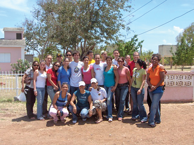 The Jesuit mission group of lay professionals, accompanied by a Jesuit priest, who spent Holy Week providing health services and celebrating faith with villagers in arroyo Hondo.