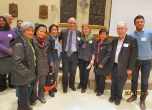Some attendees shown with the speaker, Rabbi Edward Elkin & Sr. Lucy Thorson at centre,. Also at right is Hector Acero of the SFM Interfaith Dept.