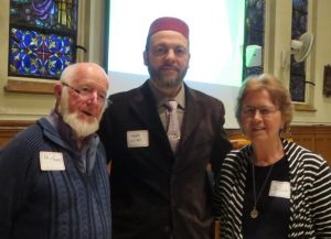 Imam Hamid Slimi with SFM Fr. Terry Gallagher & Sr. Lucy Thorson (organizer of this 3-part Series)