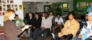 Kathy Murtha facilitating a Golden Rule Retreat for youth in Regent Park in Toronto