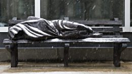 The Homeless Jesus sculpture by Timothy Schmalz